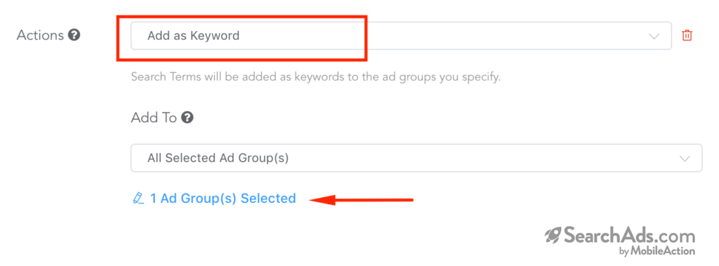 action selection search term automation rules
