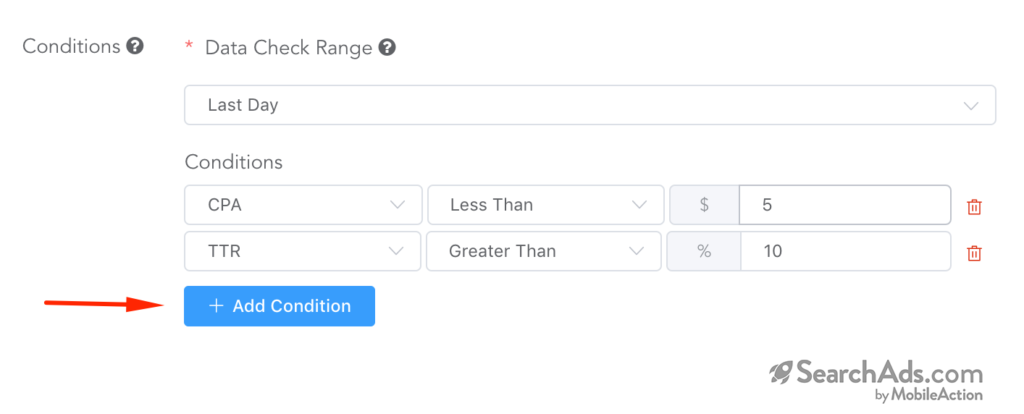 setting conditions search term automation rules