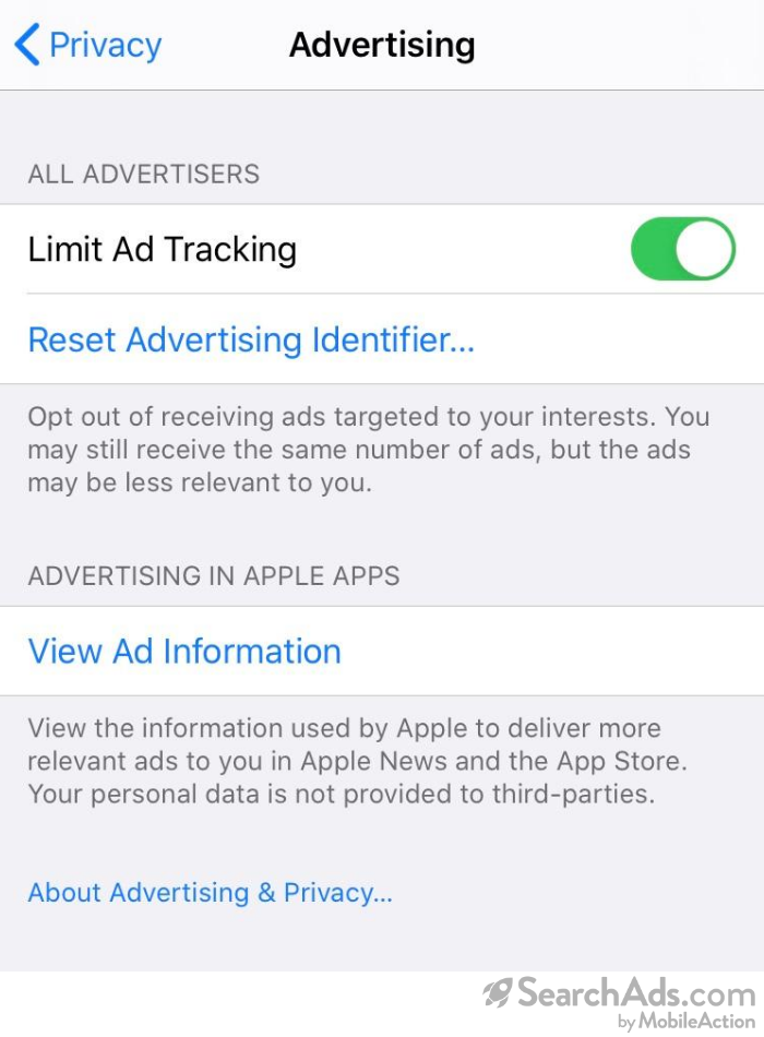 current limit ad tracking on in settings