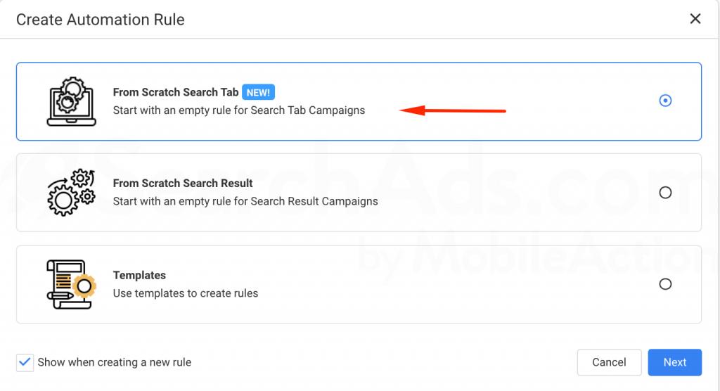 Search ads tab